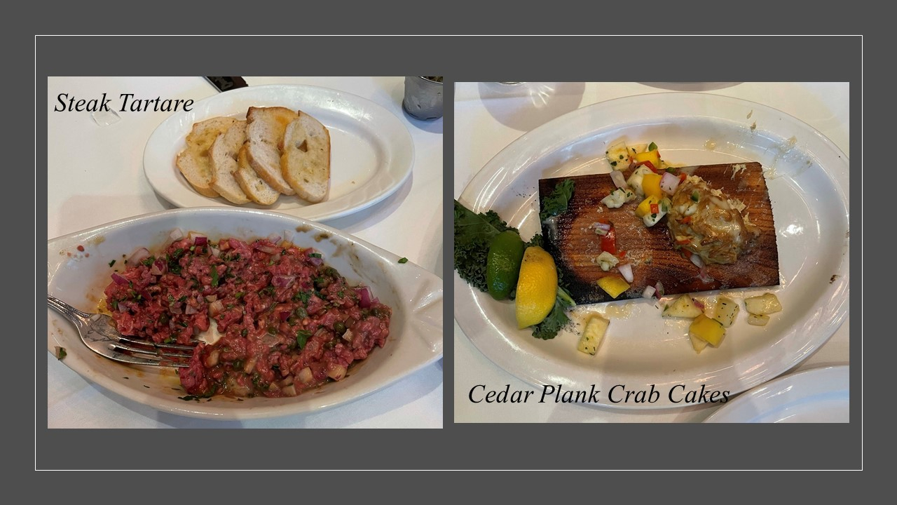 Steak Tartare and Cedar Plank Crab Cakes